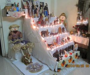 small size golu - with international dolls and Indian marapachis.