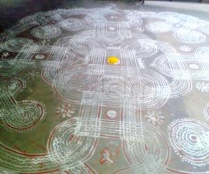 Rangoli: Padi kolam for Pongal