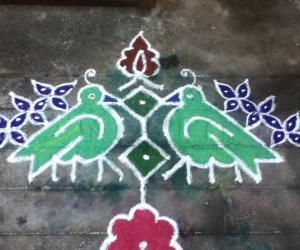 Rangoli: birds chatting