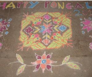 Rangoli: Birds and flowers
