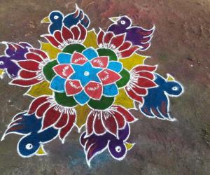 Lotus with bird rangoli