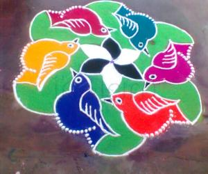 Dotted kolam - birds