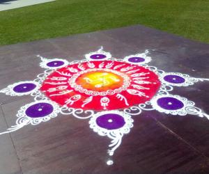 Rangoli at Diwali fair Sydney