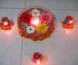 Flowers in Water - Diwali