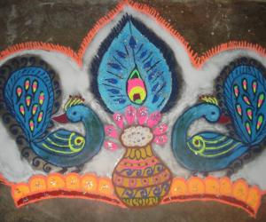 pongal pot in peacock crown(kreedum) for Rangoli contest
