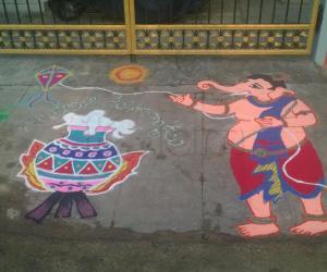 Ganesha flying kite pongal rangoli