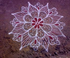 My friends cute rangoli....