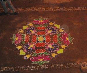 Floral rangoli colour filled