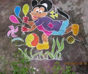 Rangoli: Micky mouse rangoli