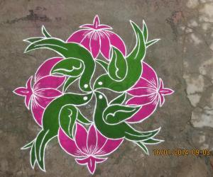 Rangoli: Birds with lotus
