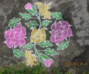 Rangoli: Rose plant