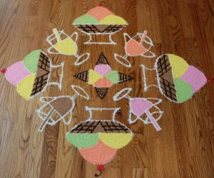 Rangoli: Ice Cream Kolam (Dotted Kolam 15 to 1 straight)