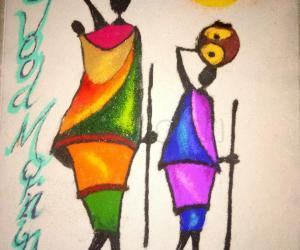 tribal women rangoli