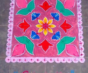 pink rangoli