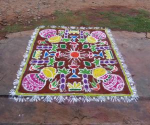 Rangoli: Pongal rangoli- Happy pongal