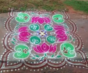Rangoli: lotus leaves and flowers