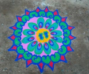 Rangoli: Krishna Jeyanthi rangoli