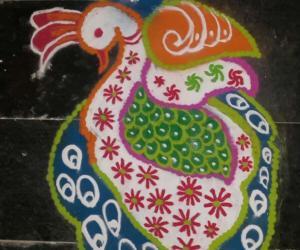 Peacock rangoli on new year