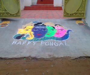 Shivan family rangoli