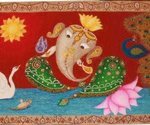 Ganesh with Swan and Peacock, Diwali 2016