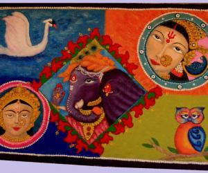 Saraswati, Ganesha & Laxmi/Dhurgha