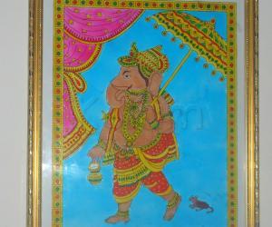 Glass painting ganesha