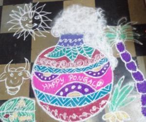 Rangoli: Pongal Pot Rangoli 2015