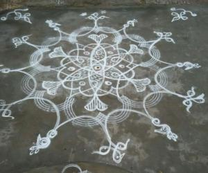 Fishes and birds in a chikku-kolam