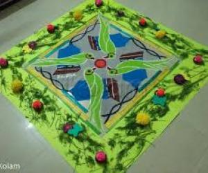 2020Dashara Rangolis Day 7Green