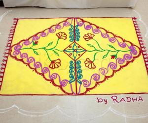 Rangoli: Yellow Carpet rangoli