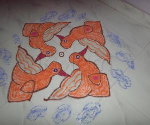 Rangoli: Flying Fire(ORANGE) Birds.