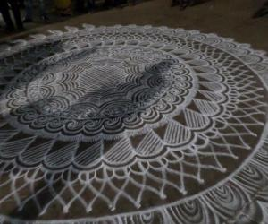 Big Rangoli for Chariot  Procession of  Lord Udupi SriKrishna