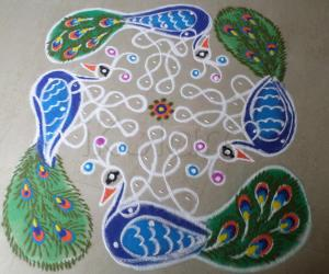 Rangoli: An Honorable Gift By Lord SRIKRISHNA To Peacocks.
