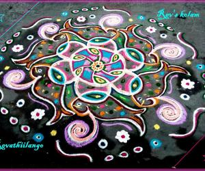 Rangoli: Rev's easy chikku 12 flower & fish.