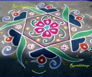 Rangoli: Rev's easy bird kolam.