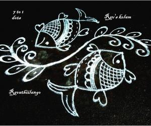 Rangoli: Rev's twisted fish kolam.