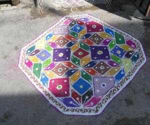 Happy Holi - Holi carpet rangoli