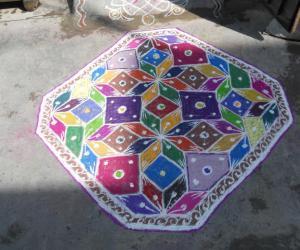 Happy Holi - Holi carpet rangoli