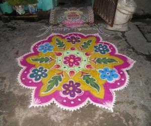 Pongal Rangoli. Free hand.