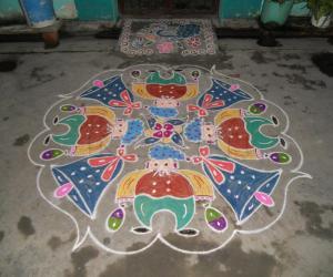 Rangoli: Colourful SANTA & BELL kolam - Merry christmas