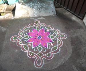 Chikku kolam with flower.