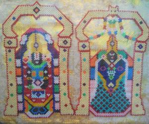 Sree Venkadachalabathi & Alamelumangai Thaiar, made by me with beads work.