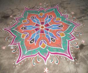 "The homework rangoli given by Rajam Mam & Admin ""Submission""."