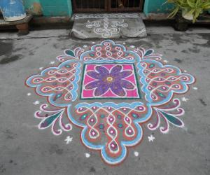 Chikku kolam & flower differently.