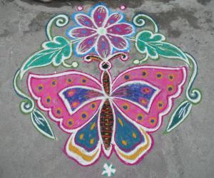 Butterfly flower kolam.