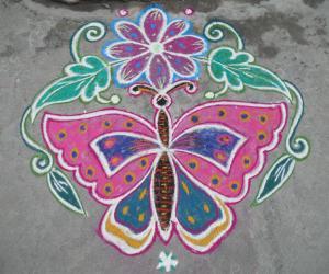 Butterfly flower kolam.