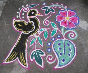 Black bird rangoli.