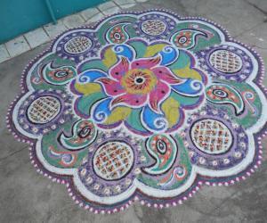 A twisted multi coloured rangoli.