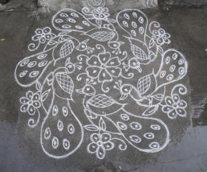 Peacock rangoli in white.