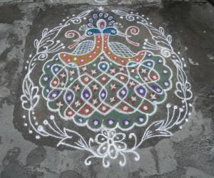 Rangoli: Rev's on the spot  kolam, Peacock chikku combined.